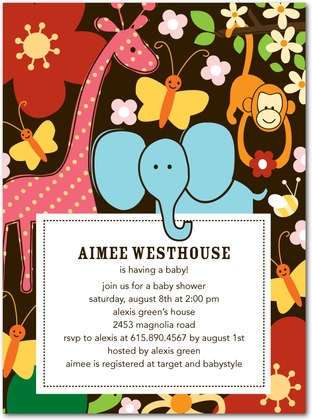 Baby Shower Invitations - Colorful Jungle
