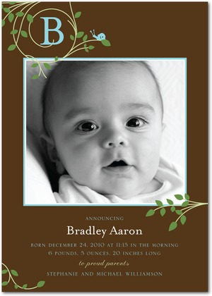 Boy Photo Birth Announcements - Tiny Snail