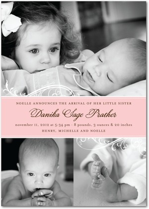 Girl Photo Birth Announcements - Swirling Stripe