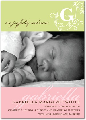 Girl Photo Birth Announcements - Vintage Monogram