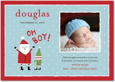 Winter Boy Birth Announcements - Santa Says
