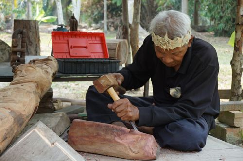 Wood carving at Mah Meri Cultural Village