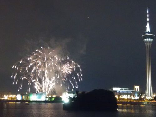 Macau Tower with Fireworks