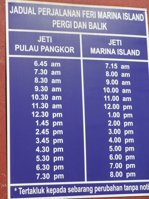 Marina Island - Pangkor Ferry Service Time Table