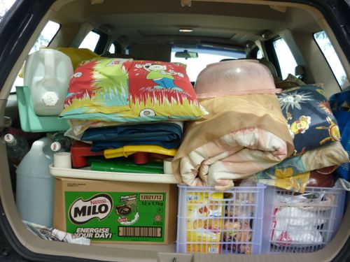 Car full of camping stuff