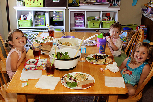 Kids Enjoying Family Dinner